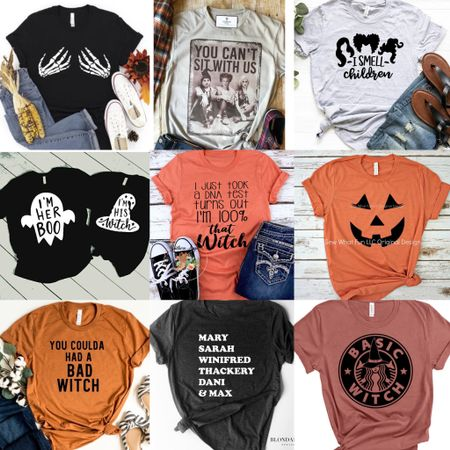 Out of these Halloween shirts...which one do you need? 😂 trick question because ALL. I love the Sanderson sisters shirts, couples Halloween one, and even the basic witch ones! Linked up 16 I just love for fall http://liketk.it/2VCHK #liketkit @liketoknow.it #LTKunder50 #LTKsalealert #LTKstyletip