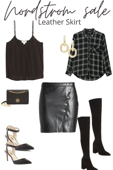 I am obsessed with a leather skirt and I love that this skirt has details that allows you to either dress it up or down! I love pairing it with a black cami or a black flannel! Heels. OTK boots. Monochrome look.   #LTKSeasonal #LTKunder100 #LTKshoecrush