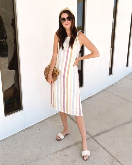 The prettiest linen blend stripe midi dress! Perfect for a beach vacation! Use code LTKDAY for $25 off $125! I'm wearing a S for reference! @liketoknow.it #liketkit http://liketk.it/3hqaY #LTKDay #LTKunder100 #LTKsalealert