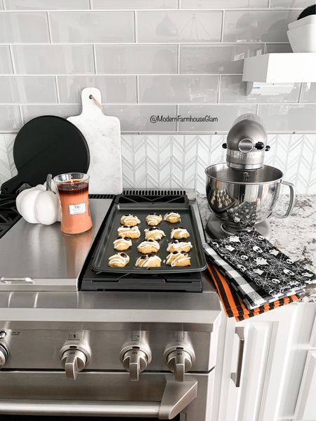 """Do you start your holiday gift shopping early? I'm going to try my best this year! Here are some gift ideas for """"Her"""" from @walmart and they are perfect for friends and neighbors. #sponsored Baking some homemade cookies (like my Iced Pumpkin Mummy Cookies) is always a thoughtful gift and what makes it more special is to add in some cookie sheets and seasonal kitchen towels! Who can use some new cookie sheets? I know my old ones weren't looking the best lol.  Everyone loves getting a yummy holiday scented candle as a gift, too. I linked this Fall """"Pumpkin Butter"""" one (yum!) and some Christmas scented ones for you as well. I wanna know, who's on team Early Shopper?  Head to stories today for my """"Iced Pumpkin Mummy Cookie"""" RECIPE and get the shopping links for the cookies sheets, candles, towels, mixer, coffee maker, & more. The gift ideas & recipe will also be saved to my blog www.modernfarmhouseglam.com and follow me on the LTK app for these cute gift ideas source and more.    #WalmartHome #modernfarmhouseglam #holidaygiftguide #christmasgiftsforher #christmasgiftsforhome #holidaybaking #pumpkincookies #halloweenbaking #falldecor #christmasdecor #kitchendecor #kitchen #seasonaldecor #homedecorideas #holidaygiftideas #fallbaking #smmakelifebeautiful #homeinspo #kitchenideas #kitchendesign #modernfarmhouse #interiorinspo #christmas2021 #christmasgifts #bakingspiritsbright #cozyhome #cozyfall #fallfarmhouse   #LTKHoliday #LTKGiftGuide #LTKhome"""