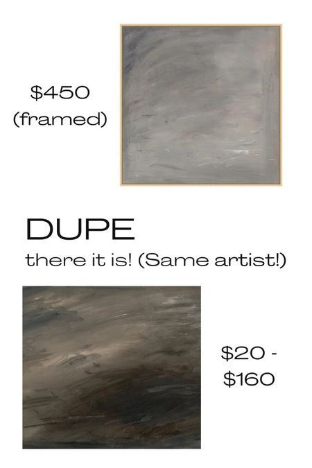 Gorgeous dark and moody art! A look for less by the same artist. Art, budget-friendly art, dark Gray art, moody painting, gallery wall   #LTKhome #LTKunder50