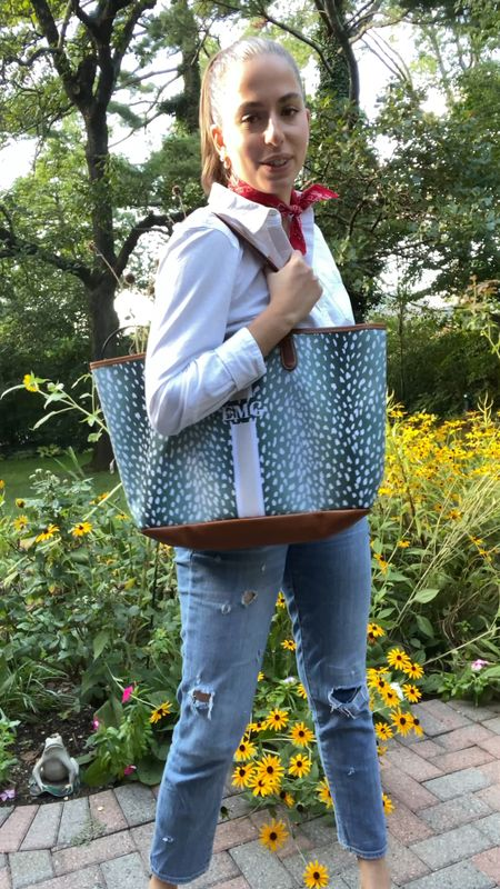 Barrington tote, tote bag, white button down, bf jeans, ripped jeans, back to school, neck scarf, birdies, slides, mules,   #LTKfit #LTKSeasonal #LTKunder100