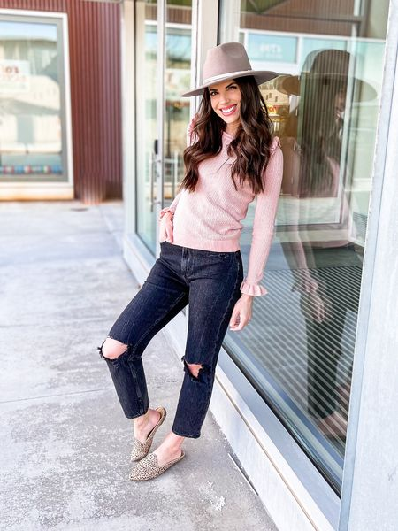 Spring Outfit | spring fashion | Straight Leg Jeans | Abercrombie & Fitch | Gigi Pip Hat | wide brim hat | Free People | Target Finds | slides | mules | flats #LTKwomens #LTKfashion #LTKstyle   Shop my daily looks by following me on the LIKEtoKNOW.it shopping app.   #LTKstyletip #LTKunder100 #LTKSeasonal