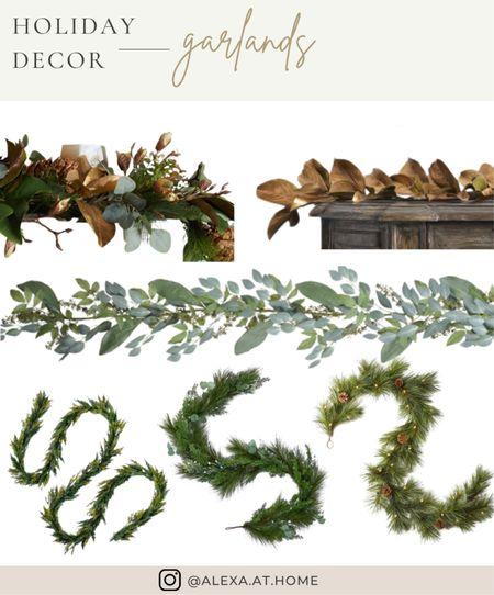 Holiday decor - garlands   Holiday garland, Christmas garland, faux garland, realistic garland, faux greenery, prelit garland   #LTKHoliday #LTKSeasonal #LTKhome