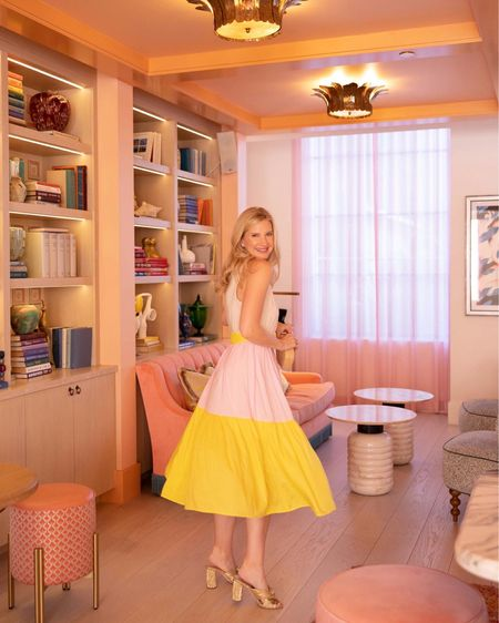 Pink and yellow dresses