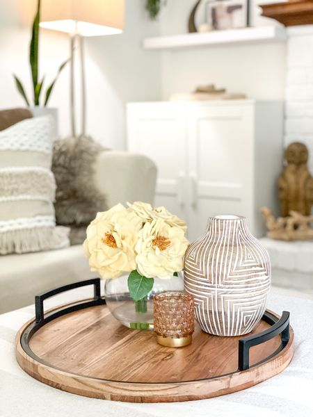 Get this look!  #neutralhome #neutralstyle #traydecor #decorativetray #woodaccents #lightandbright #modernhome #rustichome #eclecticstyle  #LTKhome #LTKstyletip