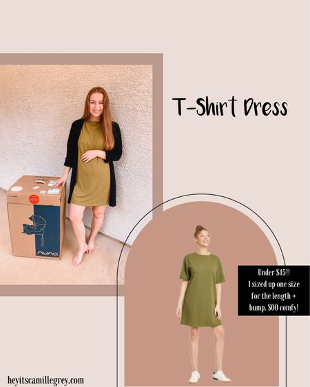 Olive green Target t-shirt dress. I sized up one size for the bump! So cozy and comfortable! Comes in multiple colors and only $12!!  We also went with the Nuna Pipa Car Seat for baby girl!    #LTKSeasonal #LTKunder50 #LTKbump