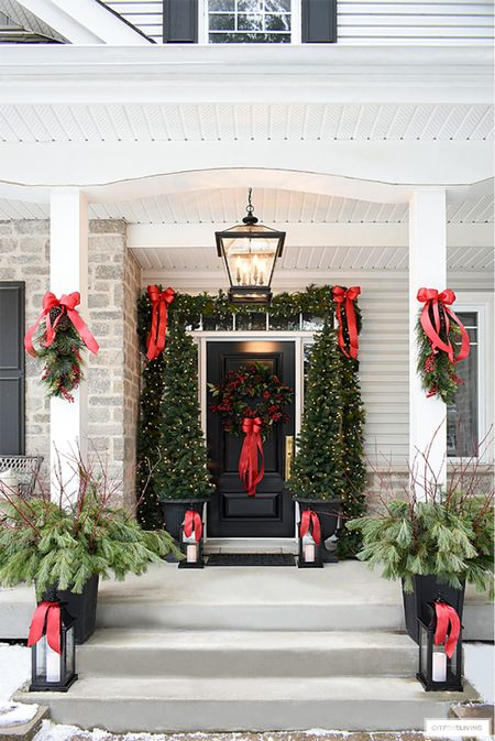 Christmas front porch holiday m decor in traditional red is always classic!  #LTKHoliday #LTKhome #LTKstyletip