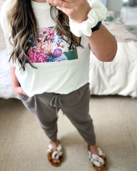 Loungewear outfit // floral graphic tee // graphic tee outfit // neutral outfit // taupe joggers // Anthropologie slippers // flower t-shirt // cropped tee // casual outfit @liketoknow.it http://liketk.it/3cvG0 #liketkit #LTKsalealert #LTKunder50 #LTKSpringSale