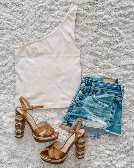 Denim shorts, nude, platform, wedge heels & a basic one shoulder tank http://liketk.it/2QVls @liketoknow.it #liketkit #LTKunder50 #LTKshoecrush #LTKstyletip