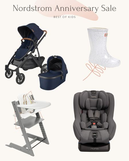 Best of Kids // Nordstrom Anniversary Sale  a few of my tried and true items for babies and little ones, currently on sale as part of NSale  •UPPAbaby Vista V2 stroller with 1 seat + bassinet. You can buy a second seat or a ride along board to fit up to 3 kids on this stroller. I do not own this model (read my double stroller review post on the blog) but I have their single child stroller Cruz and think the brand is top notch. They also offer free tune up sessions across North America which we take advance of annually so our UB stroller still looks like new. The vista is ideal for someone who wants a high quality, convertible single to double stroller that is useable from birth due to the included bassinet.  •Hunter toddler rain boots (nori loves her hunters! We've tried a few other brands and go back to hunters) •Stokke Tripp Trapp Chair - love this chair set so much we bought it for both kids. best deal of the Nsale each year and always sells quickly. I also linked their non Nsale bundle with other colors. With our first kid we bought all the pieces separately at full price and the bundle makes it a lot more convenient if you are using the chair for a child starting at 6 months of age. We didn't get the cushion the first time around and wish we did! It helps w smaller babies and wipes clean easily •Nuna RAVA car seat. We use this for Nori after lots of research on convertible car seats! #liketkit http://liketk.it/3jxdU @liketoknow.it    #LTKfamily #LTKsalealert #LTKbump