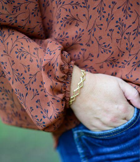 Sneak Peek Gibsonlook x The Recruiter Mom fall blouse   Kendra Scott cuff in vintage gold Fall outfit Fall blouse   #LTKcurves #LTKstyletip #LTKSeasonal