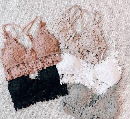 So cute 🥰     Bralettes, Lacey bralette, lounge wear, bras, sleepwear, cute bralette, outfit inspo   #LTKstyletip #LTKunder50 #LTKsalealert