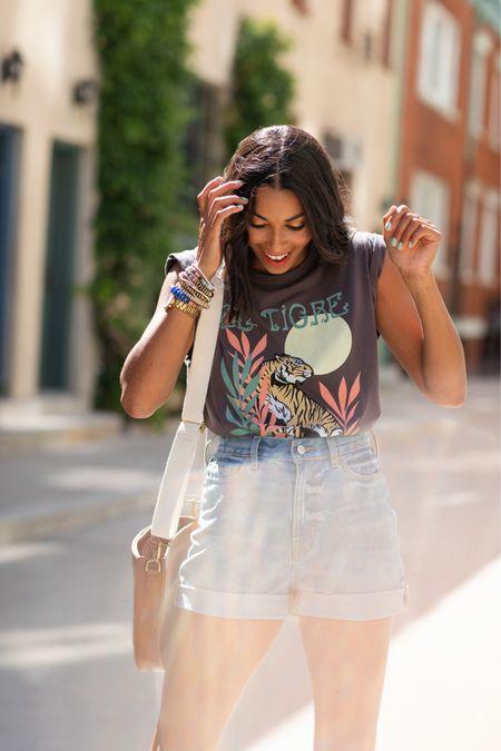 Summer outfit, shorts, graphic tee http://liketk.it/3jjPP #liketkit @liketoknow.it #LTKunder50 #LTKstyletip #LTKtravel
