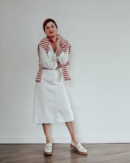Styling a white denim midi skirt for spring.   #denimmidiskirt #denimskirt #midiskirt #liketkit #summerstyle #ootd #outfitoftheday   @liketoknow.it http://liketk.it/3cV8Z