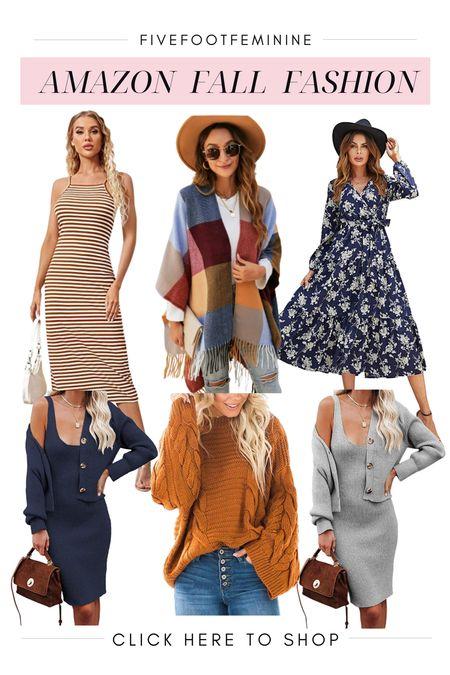Amazon fall fashion! Tags: wrap dress, maxi dress, fall dress, fall outfit, fall sweater, sweater set, fall poncho, plaid sweater   #LTKstyletip #LTKunder50 #LTKSeasonal