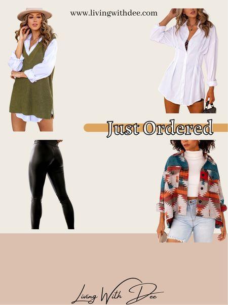 My recent Shop Priceless order. Code MEMORIES25 for 25% off . . #fallfashion #trendyclothes #falltrends #outfitideas #sweatervest #sweaterdress #shirtdress #spanx #fauxleggings #leatherleggings #shacket #midsize #midsizefashion   #LTKunder100 #LTKstyletip