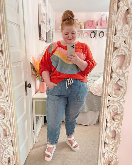 The perfect summer camping and bonfire outfit! 🌈Sweatshirt and jeans from Anthropologie 🌈Rainbow earrings from Etsy 🌈White platform sandals from rue21  http://liketk.it/3hXrd #liketkit @liketoknow.it #LTKcurves #LTKshoecrush #LTKtravel