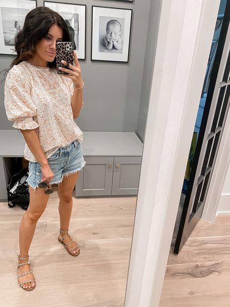 Floral top. Jean shorts. Studded sandals.   #LTKshoecrush #LTKbeauty #LTKsalealert
