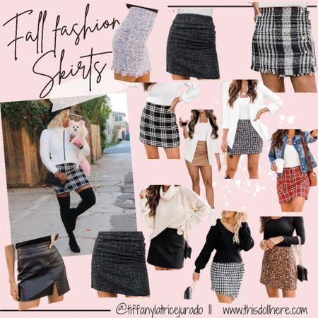 Fall fashion, skirts, tweed skirts, leather skirts, black skirts,   #LTKstyletip #LTKSeasonal