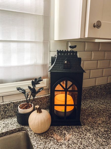 Cute diffuser alert!   This haunted house lantern from @target makes the cutest place to diffuse your fall scents!  I arranged mine in a vignette with my black ZZ plant and a white pumpkin.  #LTKstyletip #LTKhome #LTKHoliday