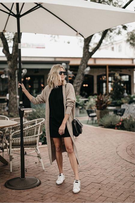 Black T-shirt dress with a cardigan 🖤   #LTKunder100 #LTKstyletip #LTKSeasonal