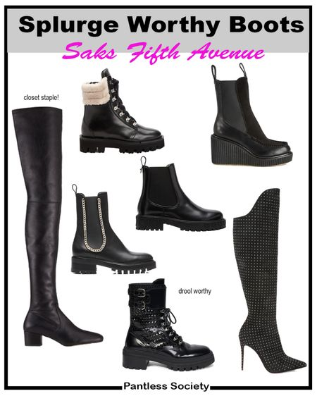 Splurge worthy boots. Black boots. Fall boots. Winter boots. Saks Fifth Avenue. Gift guide. Great gift.   #LTKGiftGuide #LTKstyletip #LTKshoecrush