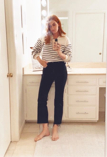 Another look at my casual outfit. These are the jeans that I cut off above my ankle with kitchen scissors and my sweater is la ligne inspired and is seasonless. It's super high quality at a great price!    #LTKunder100 #LTKshoecrush #LTKtravel