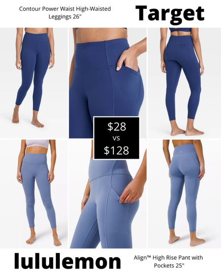lululemon dupe alert 🚨 Want the lululemon look without the lululemon price tag? Try these Contour Power Waist High-Waisted Leggings from Target for only $28. The lululemon Align High-Rise Pant with Pockets will run you $100 more for their proprietary buttery-soft Nulu fabric.   #LTKunder50 #LTKfit #LTKcurves