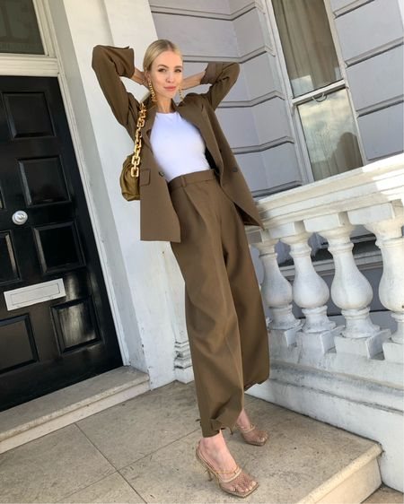 Favourite earthy suit outfit for spring 🤎  Gold chain details by Chanel and Bottega Veneta #liketkit @liketoknow.it http://liketk.it/2N2RN #LTKspring #LTKstyletip #LTKitbag