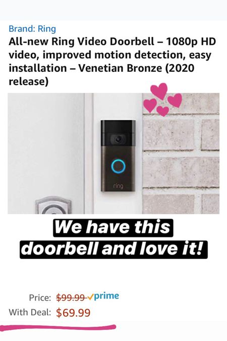 Amazon Prime Day deal on the Ring doorbell. We have this doorbell and absolutely love it. When we are away from the house and someone stops by we can see who is there.   #LTKsalealert #LTKhome #StayHomeWithLTK