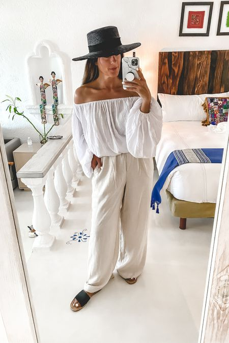 Vacation outfits!  Linen blend pants | off the shoulder top | Target style | coastal look | dinner outfit | beach look | pull on pants | straw hat | shade and shore sandals    http://liketk.it/3hyrU #liketkit @liketoknow.it #LTKstyletip #LTKunder50 #LTKtravel