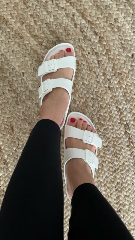 $9.99 Comfy and light white sandals that are true to size for me (size 7 shown here). @liketoknow.it http://liketk.it/3dcyg #liketkit  #ltkseasonal #competition  #LTKshoecrush #LTKsalealert #LTKunder50