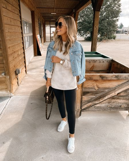 $25 Target Sweatshirt (XS) / Cropped denim jacket (XS) 🍂 http://liketk.it/2WJG4 @liketoknow.it #liketkit #LTKsalealert #LTKshoecrush #LTKunder50 Target style, Nordstrom, Zella Leggings, American Eagle, Steve Madden, Sneakers, Golden Goose dupes