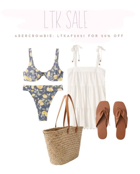 Beach outfit for summer ☀️ love this Abercrombie swimsuit & the accessories to go with it. http://liketk.it/3htI6 #liketkit @liketoknow.it #LTKsalealert #LTKitbag #LTKswim