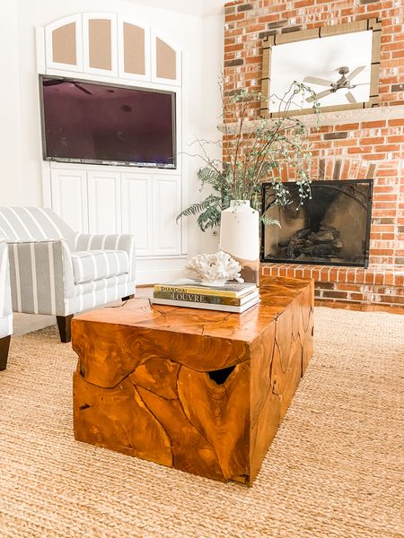 Teak wood coffee table in this modern farmhouse living room.  Wood coffee table, wood decor, living room decor, home furniture      #LTKhome