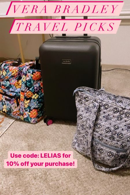 Hitting the road? 🚗 You definitely need this hardshell spinner and tote bags from Vera Bradley 🤍 #verabradley #travelessentials  #LTKtravel #LTKfamily #LTKitbag