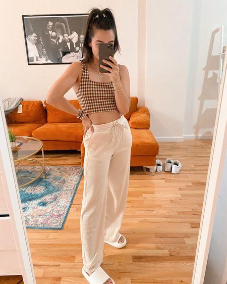 Bralette Waffle pants Wide leg pants  Cozy outfit Casual outfit Lounge  Lou and Grey   #LTKsalealert #LTKstyletip #LTKunder50