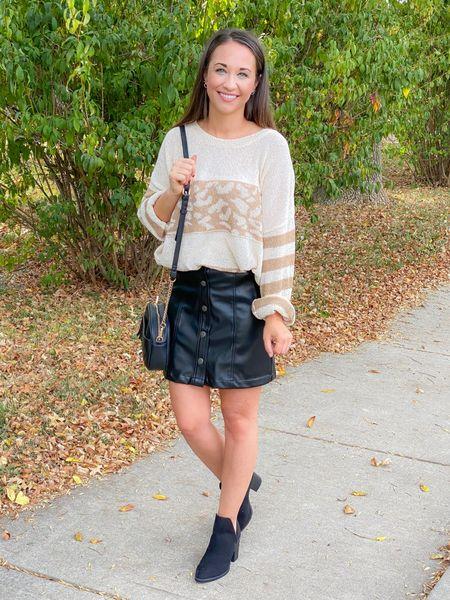 Faux leather skirt, Walmart find   #LTKsalealert #LTKunder50 #LTKstyletip