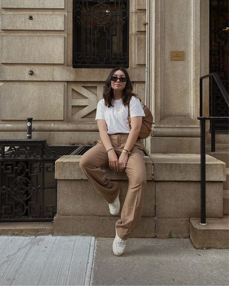 Casual white and tan outfit.