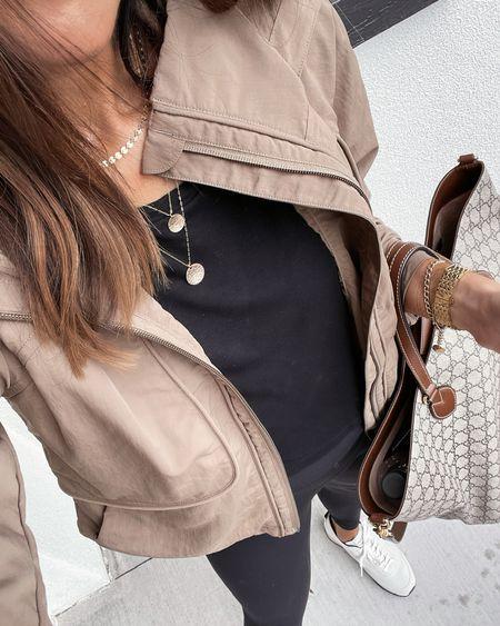 Athleisure style, everyday style, jacket, layering necklaces, leggings, StylinByAylin   #LTKstyletip #LTKunder100