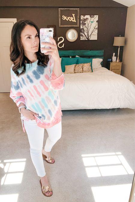 White jeans and tie dye! http://liketk.it/2OHyf #liketkit @liketoknow.it #LTKspring Shop my daily looks by following me on the LIKEtoKNOW.it shopping app