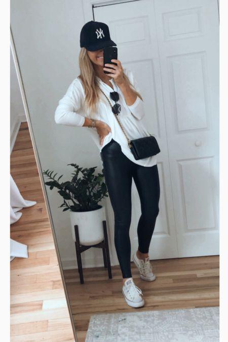 Spanx faux leather leggings   #LTKstyletip #LTKunder100 #LTKsalealert