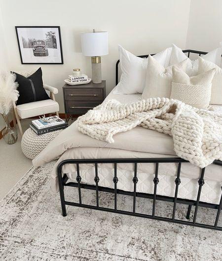 H O M E \ cozy bedroom☺️  #bedroom #bed #farmhouse #bedding #walmart #walmarthome #bedroomdecor  #LTKunder100 #LTKhome