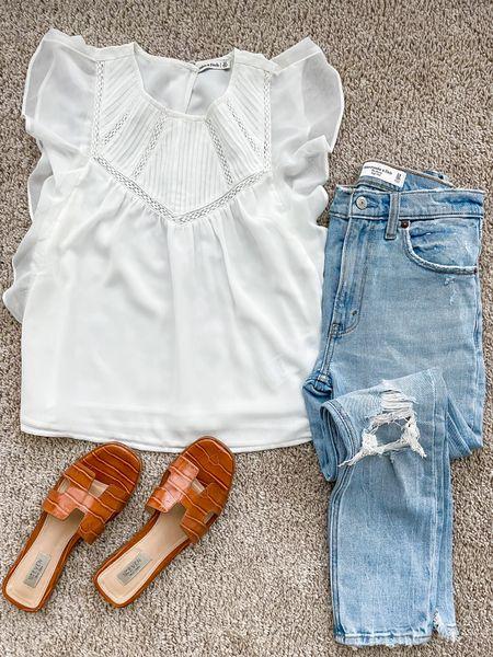 Jeans on sale in 24s white blouse in xs sandals tts belbel20   #LTKstyletip #LTKunder100 #LTKsalealert