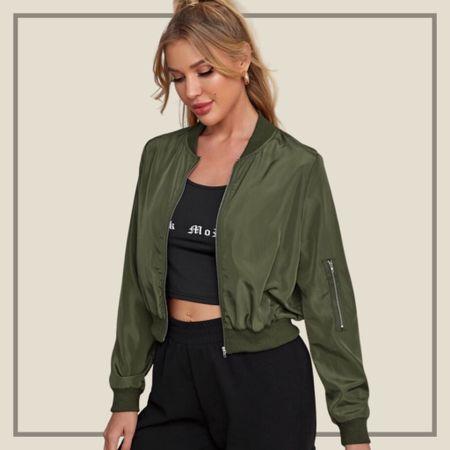 Zipper detail bomber jacket  #LTKunder100 #LTKstyletip #LTKunder50