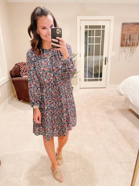 This floral midi dress might not be the most flattering but it sure does make me feel pretty and it's soooo comfortable!!! I can't wait to wear it with knee boots but for now, these buckle mules are perfect for the transition between seasons.