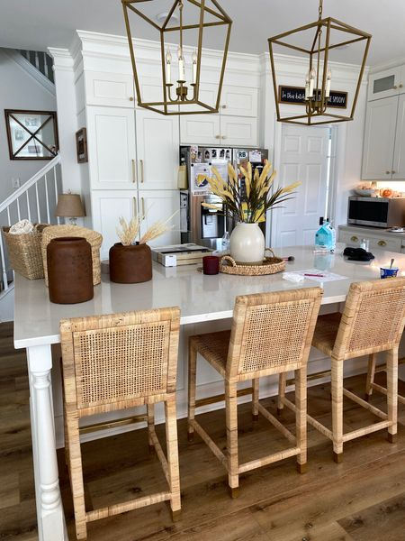 Target fall home decor and rattan island chairs from Serena and lily gold lantern pendant lights above kitchen island from amazon   #LTKhome #LTKSeasonal #LTKunder50