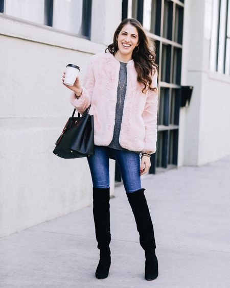 The jacket of all my pink dreams 💘💕💖 Tag a friend who rocks a lot of pink! Ps I know it might be a little extra to wear a faux-fur jacket in LA, but 🤷🏼♀️ http://liketk.it/2u6K2 #liketkit @liketoknow.it 📷: @feylasala