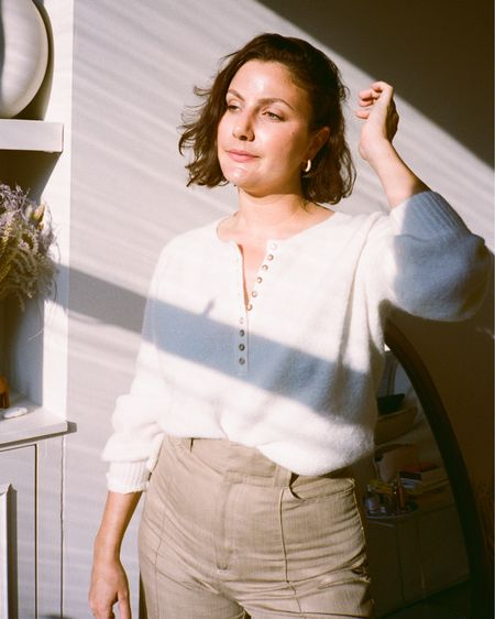 No one does knits like Sezane - I've got so many from over the years and this new white button down jumper is perfect for autumn   #LTKunder100 #LTKeurope